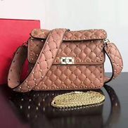 Jacqueline Studs Grain Leather Shoulder Bag Pink
