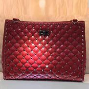 Jacqueline Studs Leather Shoulder Bag Tote Red