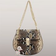 Joy Drew Faux Leather Shoulder Bag Python Gold