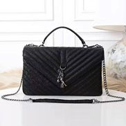 Julia Leather Large Flap Bag Black
