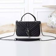 Julia Leather Small Flap Bag Black