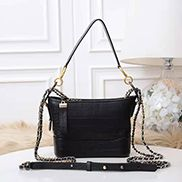 Kristy Leather Bucket Bag Croc Black