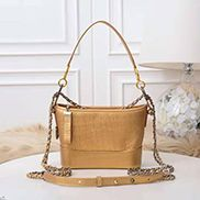 Kristy Leather Bucket Bag Croc Gold