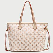 Louisa Flower Vegan Leather Shopping Bag Beige
