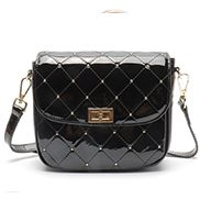 Laureen Patent Studs Leather Bag Black