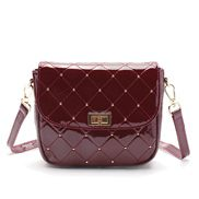 Laureen Patent Studs Leather Bag Burgundy