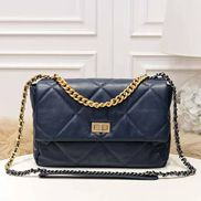 Lilia Flap Medium Leather Bag Blue