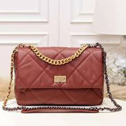 Lilia Flap Medium Leather Bag Burgundy