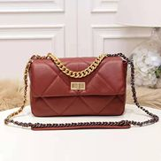 Lilia Flap Small Leather Bag Burgundy