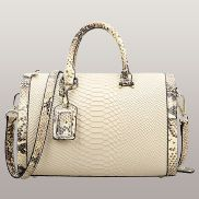 Lindsey Leather Top Handle Bag Cream