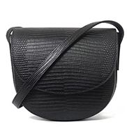 Pauline Lizard Effect Leather Shoulder Bag Black