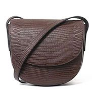 Pauline Lizard Effect Leather Shoulder Bag Chocolate