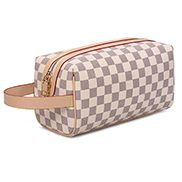 Louisa Checked Vegan Leather Cosmetic Pouch Cream