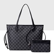 Louisa Checked Vegan Leather Tote Black