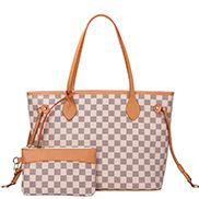 Louisa Checked Vegan Leather Tote Cream