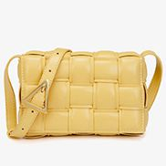 Mia Plaid Square Vegan Leather Small Shoulder Bag Yellow