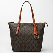 Mara Monogram Canvas With Brown Leather Trim Shoulder Bag