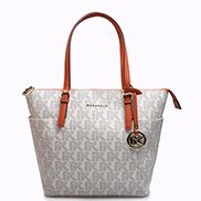 Mara Monogram Canvas With Brown Leather Trim Shoulder Bag White