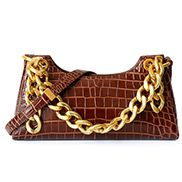 Mariana Croc Leather Shoulder Bag Brown