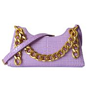 Mariana Croc Leather Shoulder Bag Purple