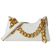 Mariana Croc Leather Shoulder Bag White
