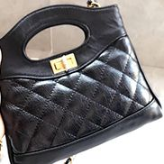 Martina Leather Mini Shipping Bag Black