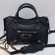The Route 66 Goatskin Leather Medium Bag Black Silver Hardware