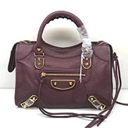 The Route 66 Goatskin Leather Medium Bag Burgundy Gold Hardware