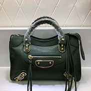 The Route 66 Goatskin Leather Medium Bag Green Gold Hardware