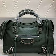 The Route 66 Goatskin Leather Medium Bag Green Silver Hardware