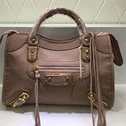 The Route 66 Goatskin Leather Medium Bag Pink Gold Hardware