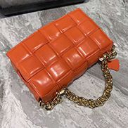 Mia Leather Chain Shoulder Bag Black Orange
