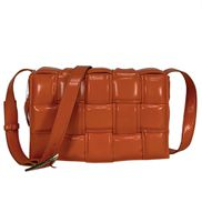 Mia Plaid Square Leather Medium Shoulder Bag Orange