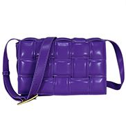 Mia Plaid Square Leather Medium Shoulder Bag Purple