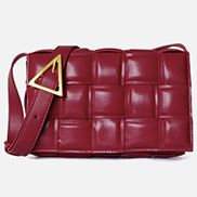 Mia Plaid Square Leather Shoulder Bag Burgundy