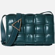 Mia Plaid Square Leather Shoulder Bag Green