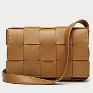 Mia Woven Leather Shoulder Bag Camel