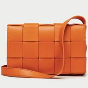 Mia Woven Leather Shoulder Bag Orange