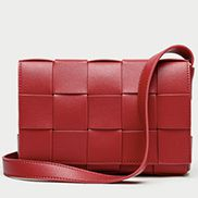 Mia Woven Leather Shoulder Bag Red