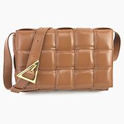 Mia Plaid Square Leather Shoulder Bag Brown