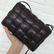 Mia Plaid Square Leather Shoulder Bag Choco