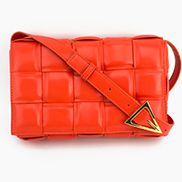 Mia Plaid Square Leather Shoulder Bag Orange