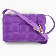 Mia Plaid Square Leather Shoulder Bag Purple