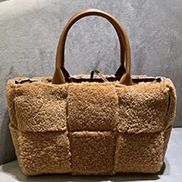 Mia Lambs Wool Leather 6 Squares Tote Camel