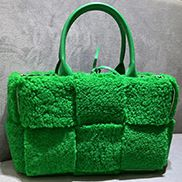 Mia Lambs Wool Leather 6 Squares Tote Green