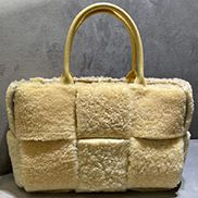 Mia Lambs Wool Leather 6 Squares Tote Yellow