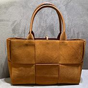 Mia Woven Suede Leather 6 Squares Tote Camel
