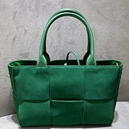 Mia Woven Suede Leather 6 Squares Tote Green