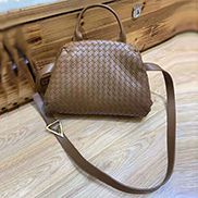 Mia Soft Woven Leather Shoulder Bag Brown