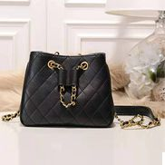 Millie Diamond Shape Quilted Leather Bucket Bag Black